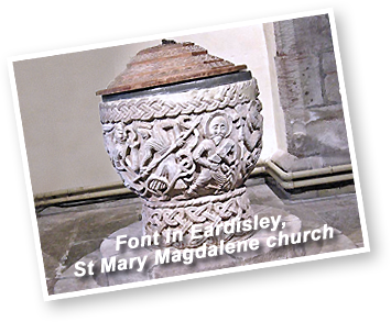 The font in St Mary's Church Eardisley, Herefordshire - Maweb clients are based in Eardisley!
